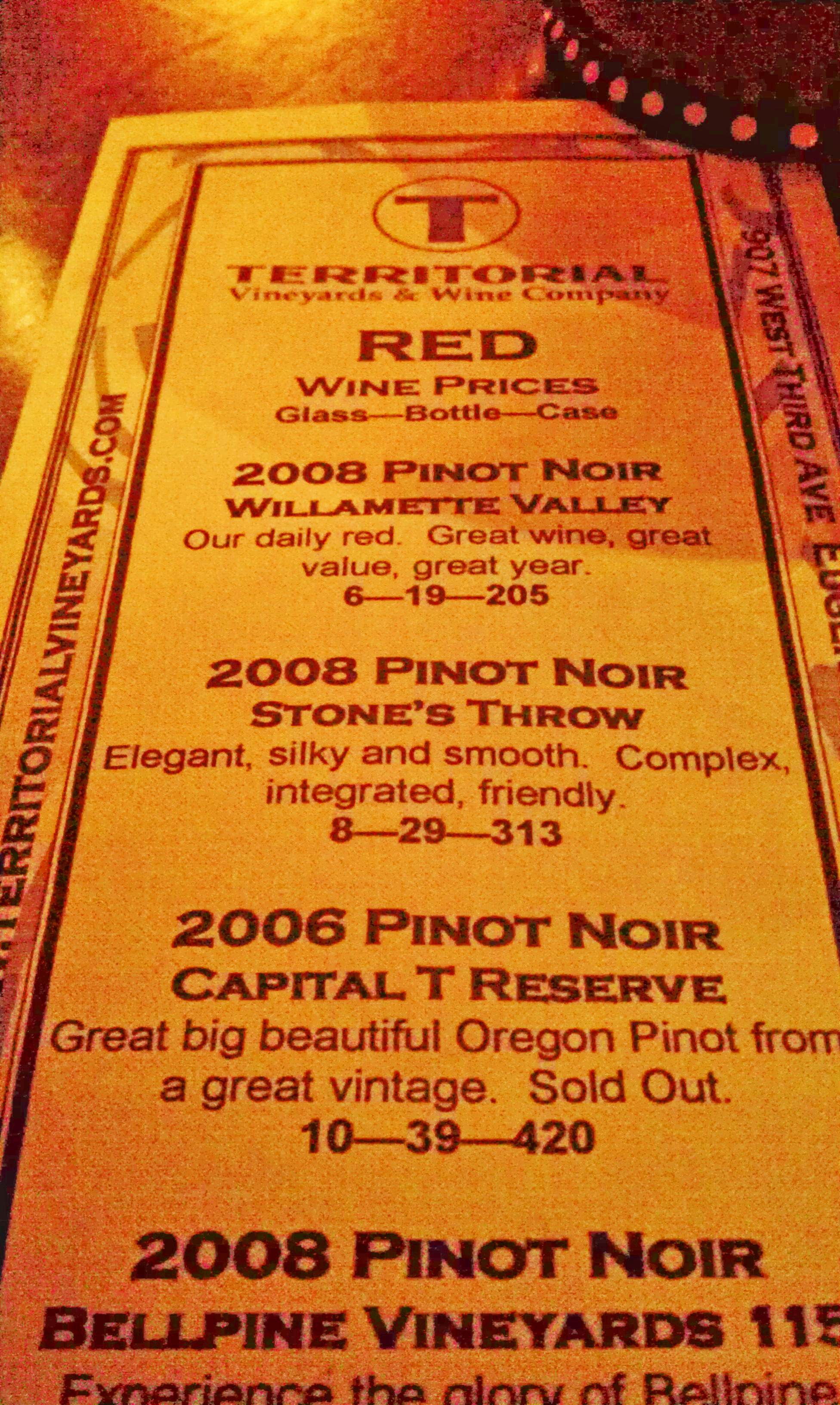 Touting Territorial's Tantalizing Pinot Noirs