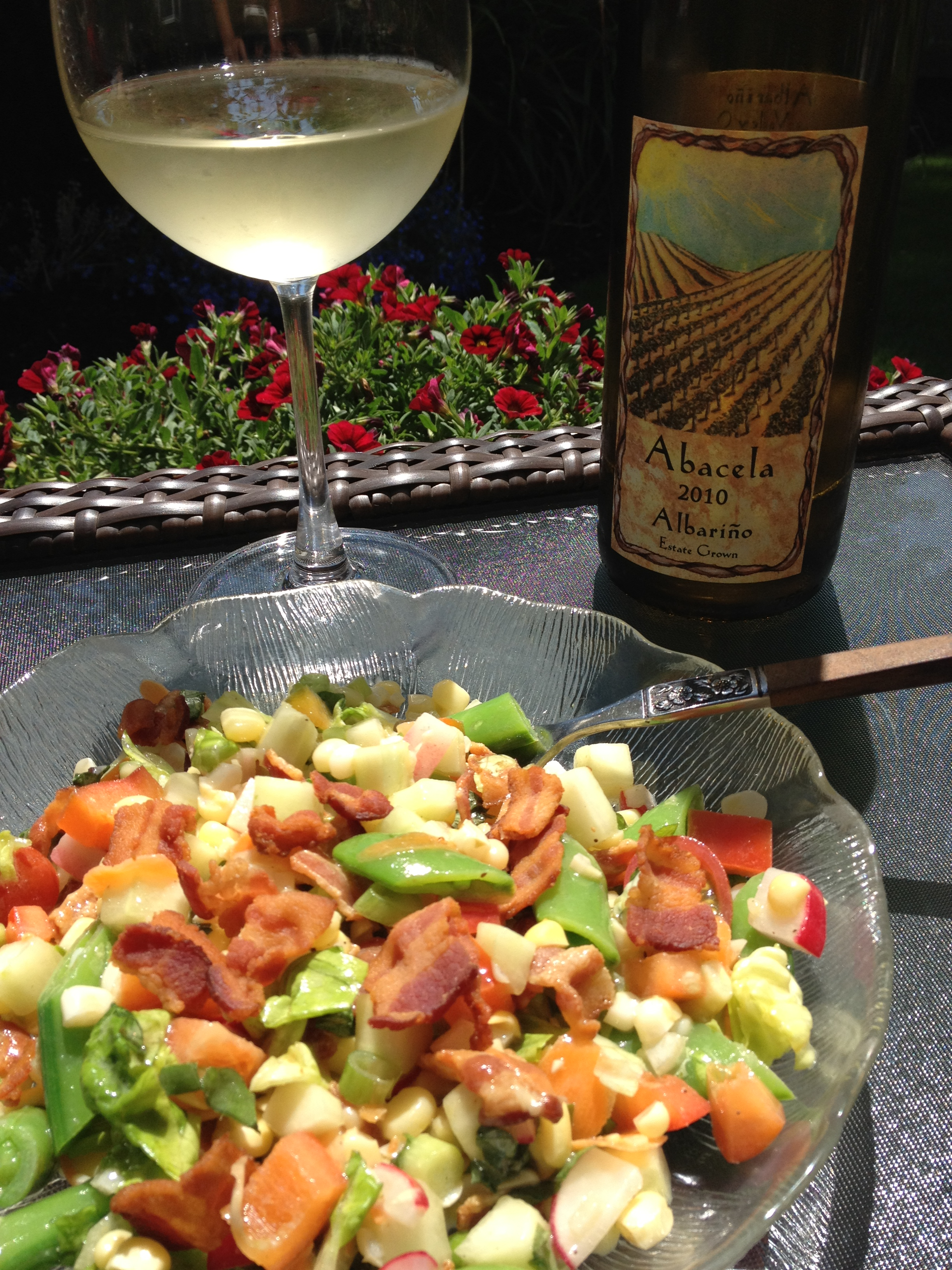 Pair This: Chop Salad with Corn, Snap Peas and Bacon & Abacela Albariño