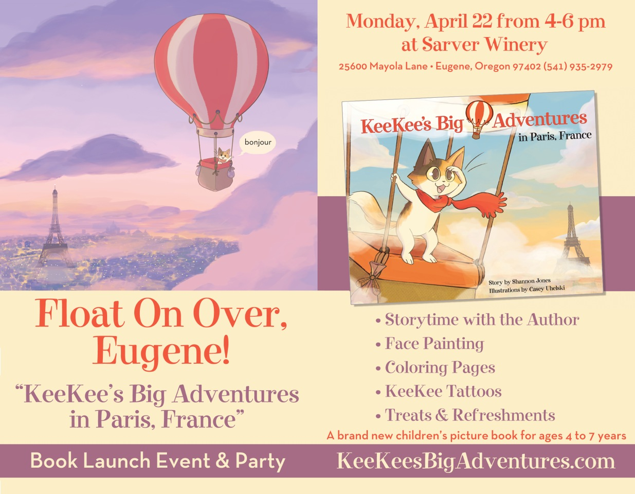 Sarver Winery to Host Children's Book Launch Event & Party: KeeKee's Big Adventures