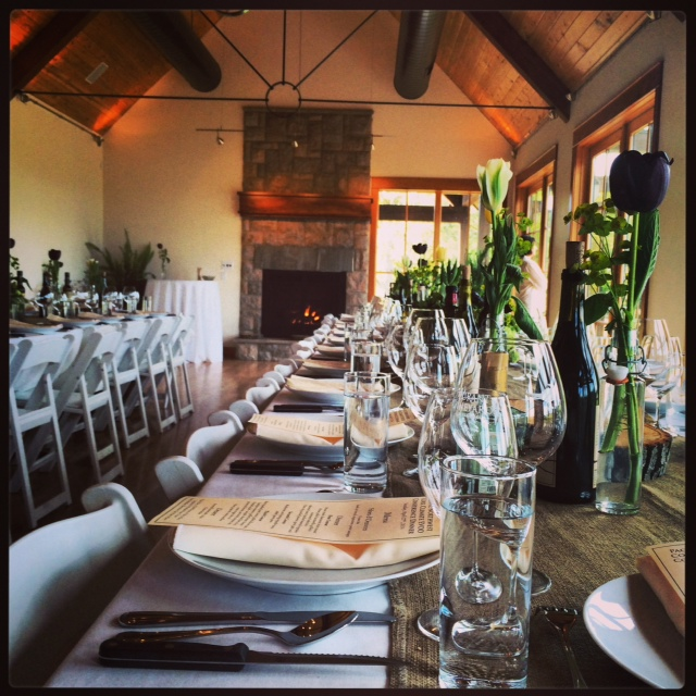 The dining room set in the events center above the olive mill is ready for dinner prepared by Vitaly Paley
