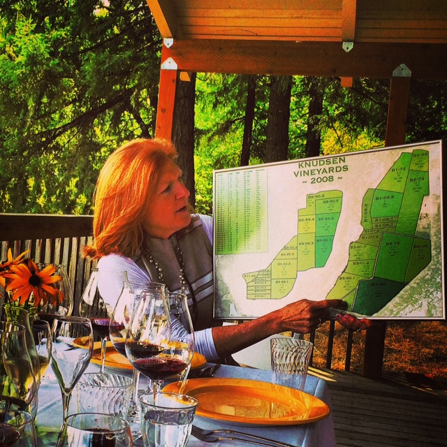 Page Knudsen Cowles shows us a map of the vineyard blocks