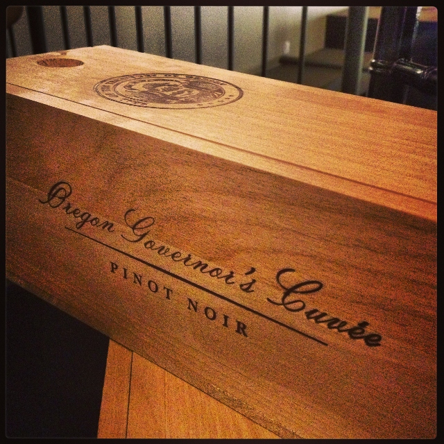 The wooden box that holds the very limited Oregon Governors Cuvee