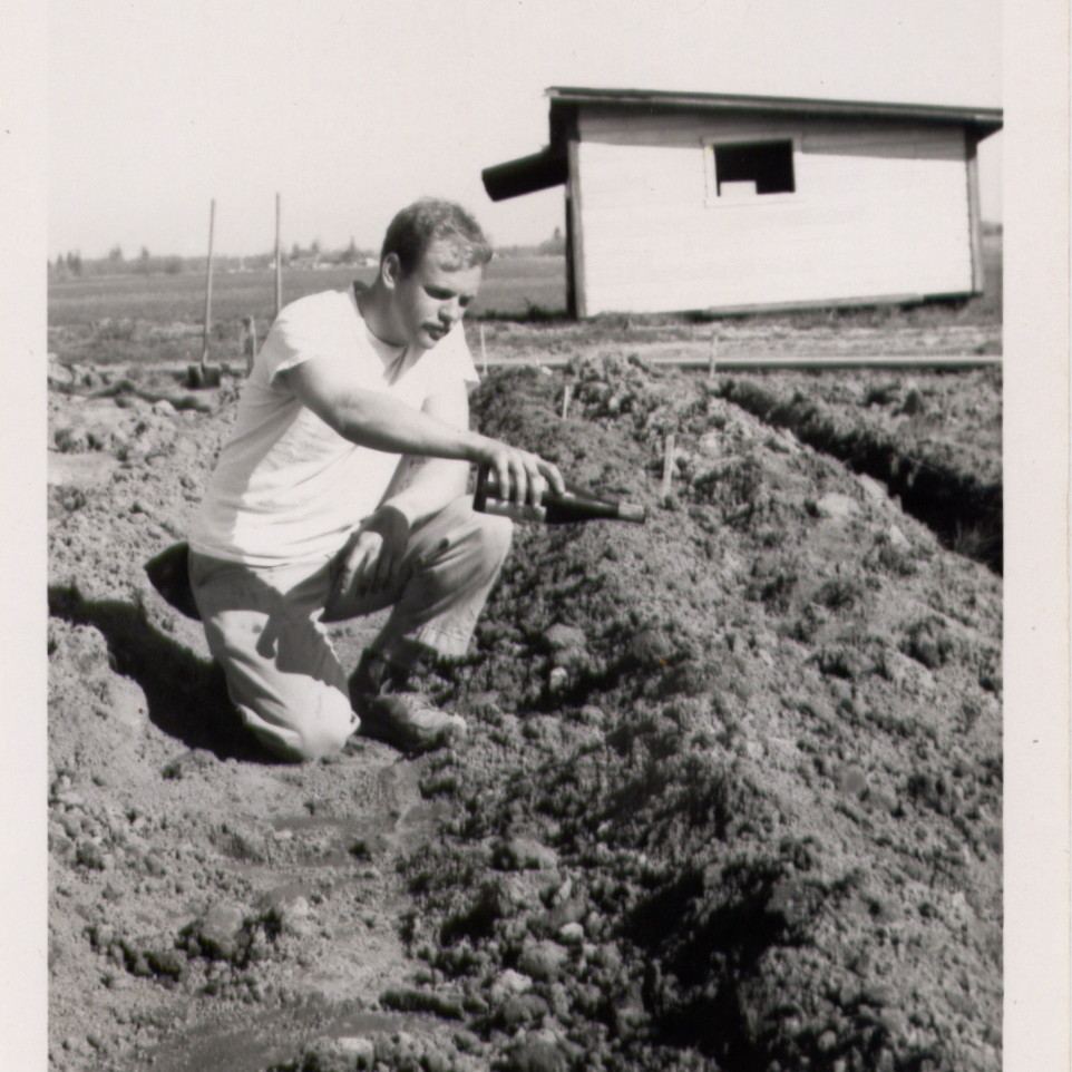 1965 - David Lett of The Eyrie Vineyards christening first vines