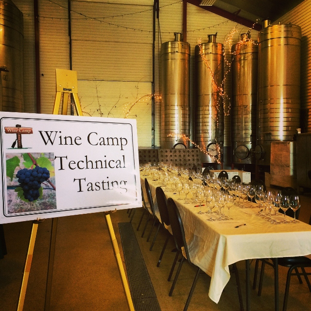 The technical tasting took place inside the winery next to the stainless steel tanks