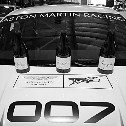 Aston Martin with wine on it from instagram