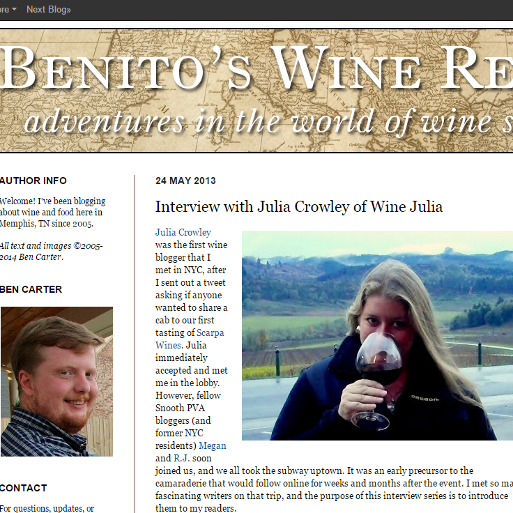 Benito s Wine Reviews Interview with Julia Crowley of Wine Julia