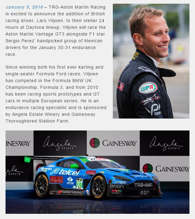 Lars Viljoen Part Of International TRG Aston Martin Racing Lineup for Rolex 24 Hours at Daytona – TRG AMR North America LLC